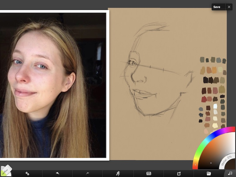 Paint on the iPad step-by-step portrait in ArtRage step 3