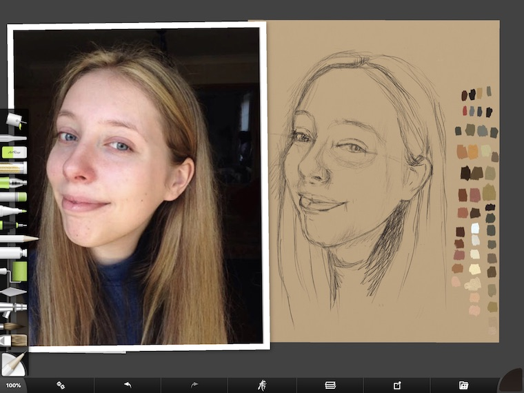 Paint on the iPad step-by-step portrait in ArtRage step 8