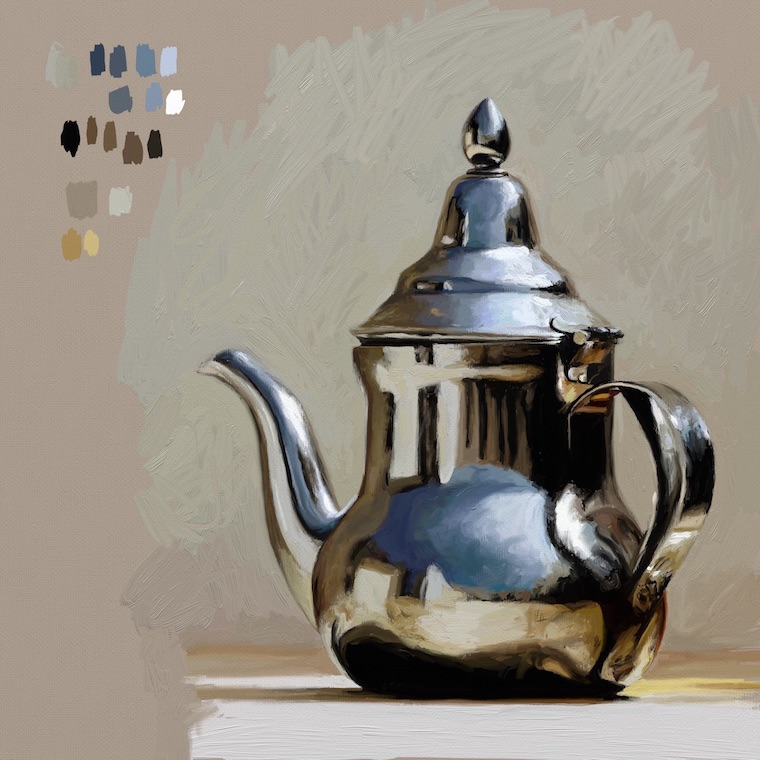 Digital painting study of silver teapot