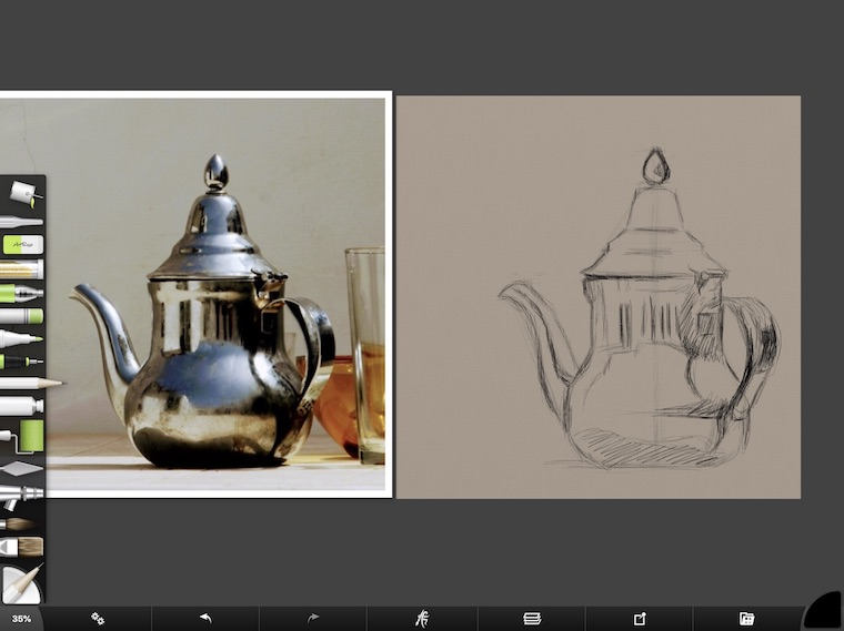 tips for painting digitally in ArtRage pencil drawing teapot