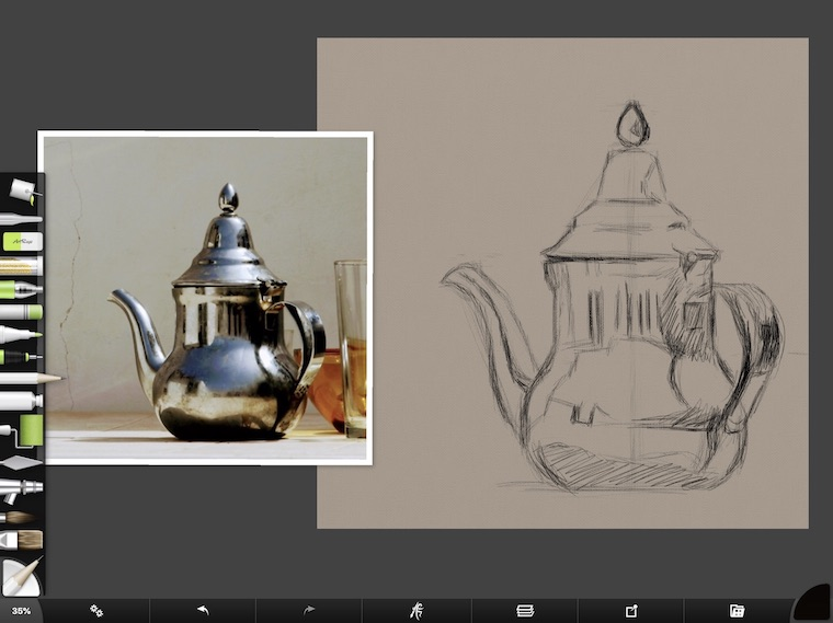 tips for painting digitally in ArtRage pencil drawing teapot sketch