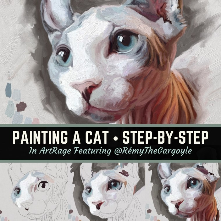 Painting a cat in ArtRage step-by-step featuring Rémy the gargoyle