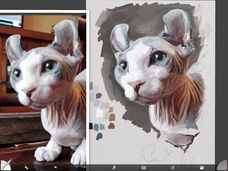 Painting Remy the Gargoyle Sphynx hairless cat
