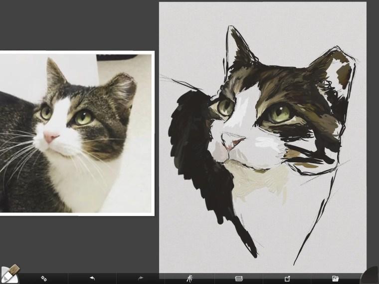 Cat digital painting tutorial step 5 values painting white fur