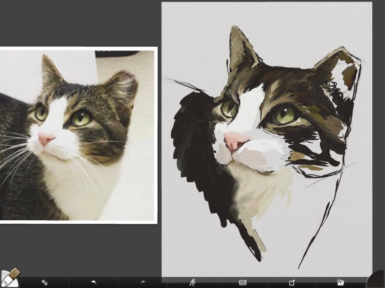 Cat digital painting tutorial step 7 highlights and blending fur