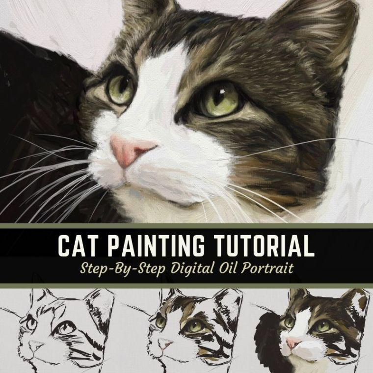 Learn how to paint a cat digital painting tutorial