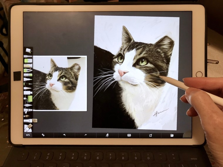 oil painting a cat on the iPad Pro