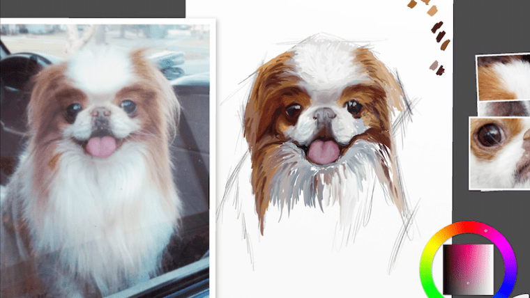 Step 5 painting a dog portrait