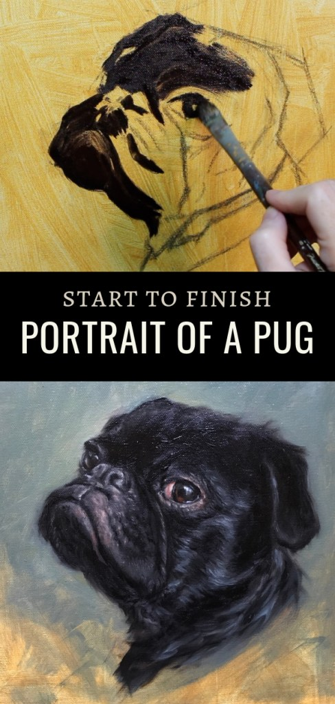 The real pug pin 2 portrait oil painting by shelley hanna