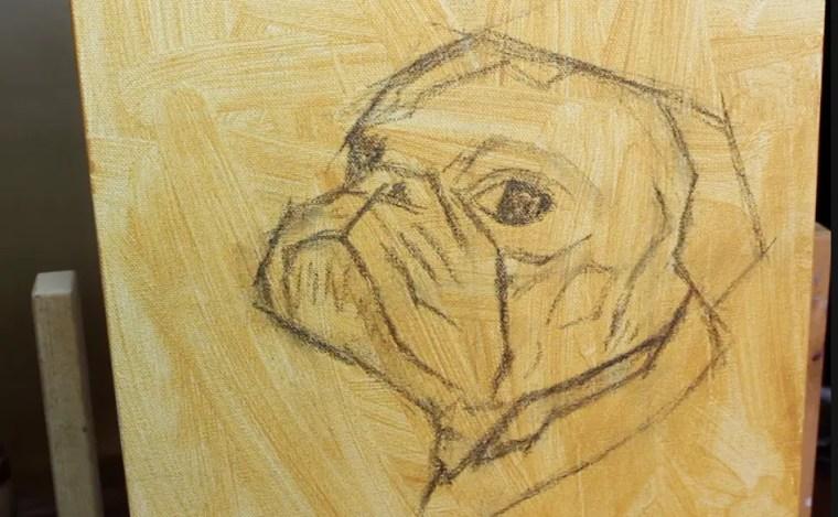 step 1 pet portrait painting a pug