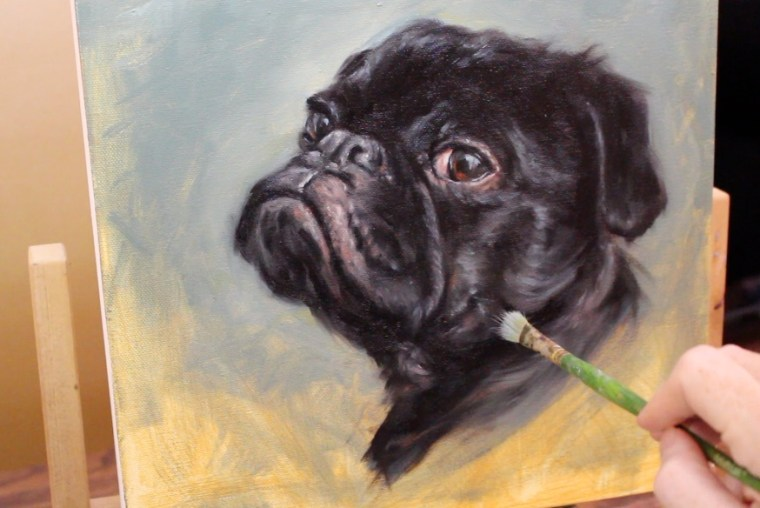 old brushes when painting fur black pug shelley hanna