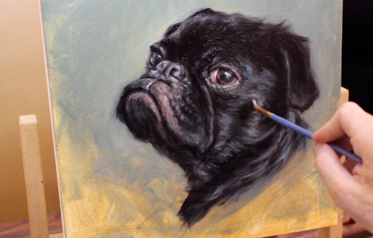 brush strokes side of face black pug dog painting shelley hanna