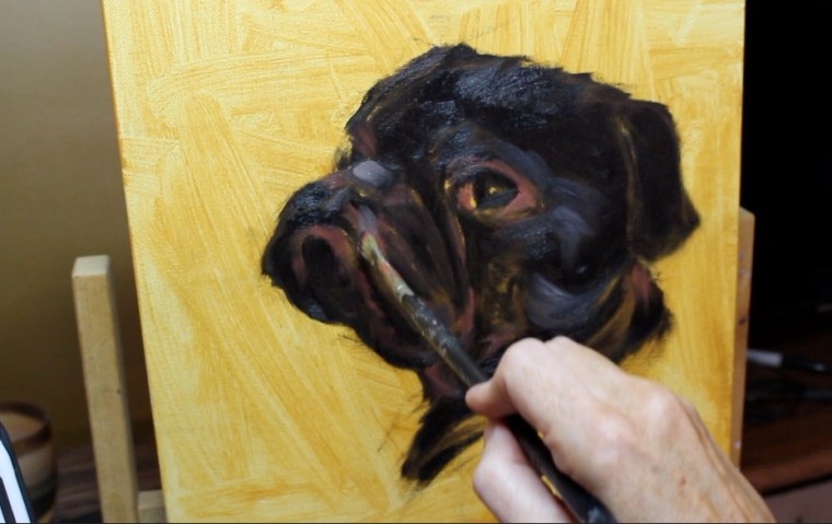 step 4 pet portrait painting a pug