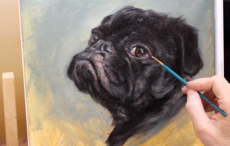 Step 8-9 black pug dog oil painting shelley hanna tutorial how to