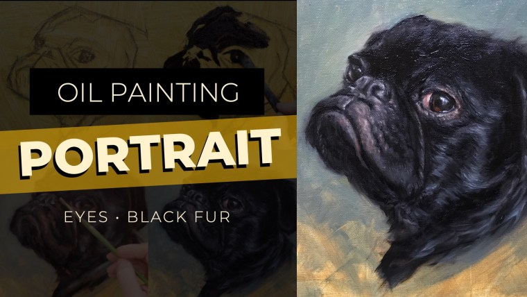 oil painting portrait of a pug YouTube graphic