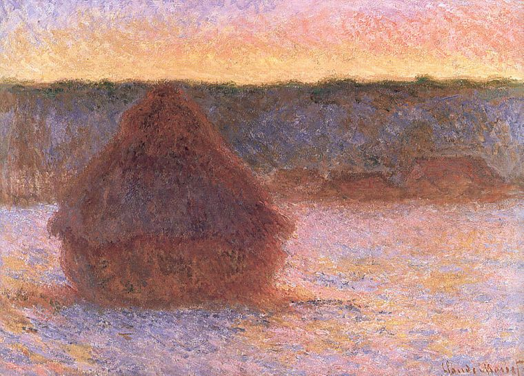 monet haystacks at sunset frosty weather