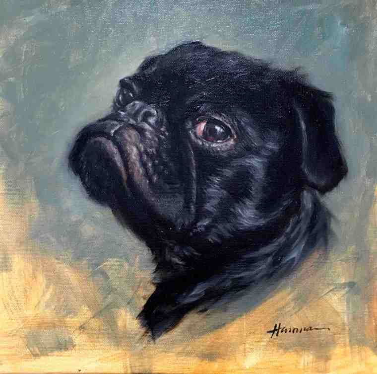 signed painting of pug