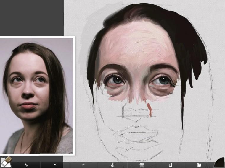 Digital portrait forehead and hair