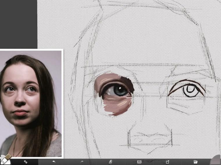 Digital portrait painting modulating skin around eye