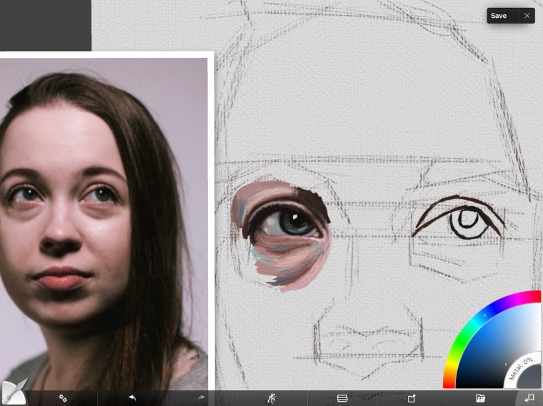 Adding complementary colors to skin around eye