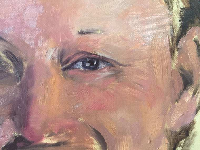 Close up of portrait skin tones and eye