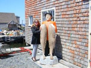 Shelley Kassian by a Fisherman's Shack.