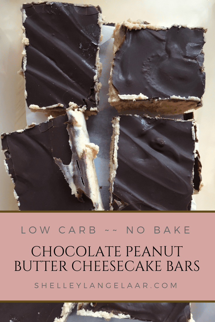 Low carb chocolate peanut butter cheesecake bars