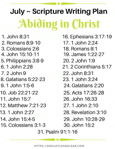 Abiding in Christ scripture writing plan