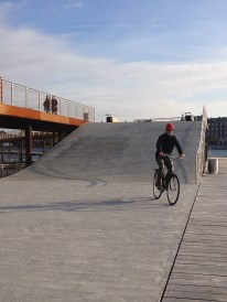 This cycling bridge was recently opened, and serves an aesthetic and pleasurable purpose, not a commuting one.