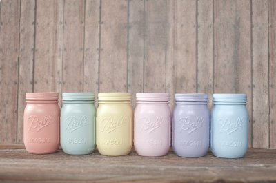 6 pastel painted mason jars. Mint green. pencil holder, dorm organizer. Makeup brush holder. Easter decor. Peach, colored jars.