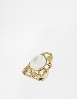 Image 1 of ASOS Faux Pearlised Scroll Ring