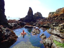 Cold but tolerable tidal pool.