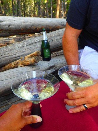 Toasting our anniversary in the woods of Yellostone