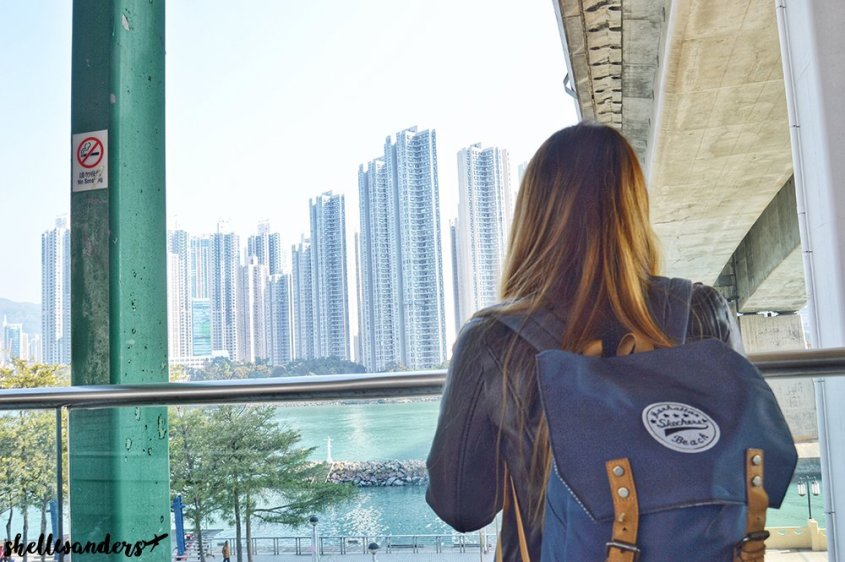 Hongkong Traveller overlooking the tall cities in Tsing Yi
