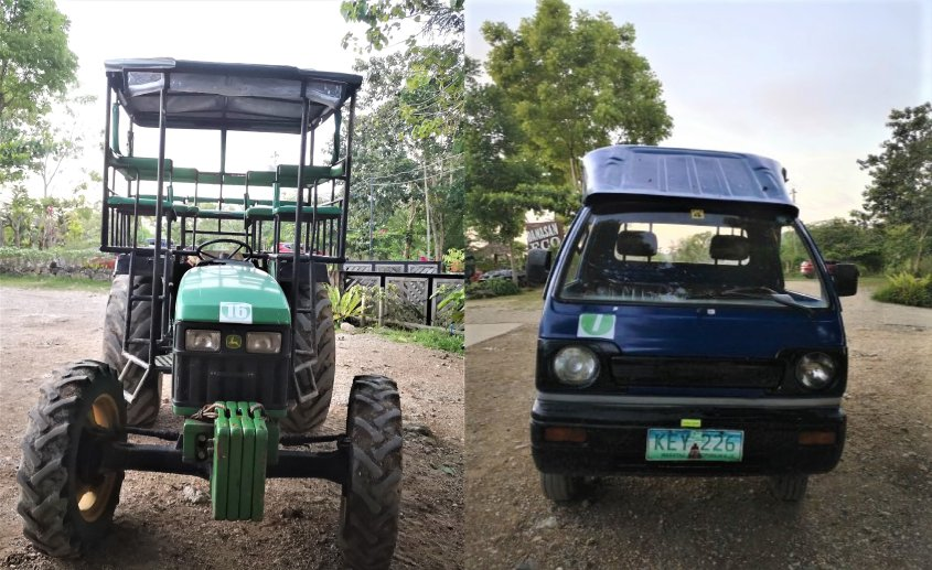 TRACTOR AND VAN. TRANSPORTATION VEHICLE TO DIFFERENT ACTIVITIES
