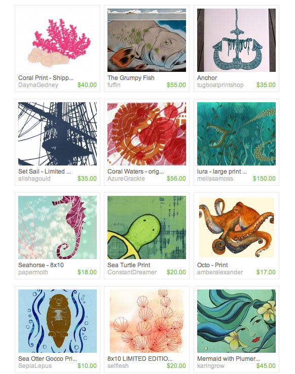 ocean-inspired art prints from Etsy artists