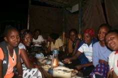The research team sharing dinner on our first night outside of Minjingo, Tanzania