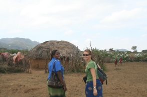 Shelly with translator and research assistant Scolastika in Looldupa Boma, Longido Tanzania