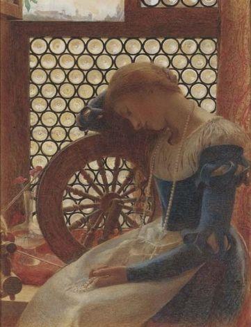 Margaret Alone at Her Spinnig Wheel Frank Cadogan Cowper.jpg