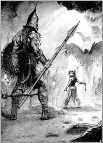 David and Goliath by Simon Bisly