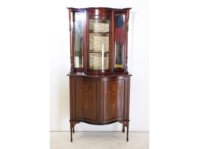1900年代イギリス製アンティーク マホガニー エドワーディアン インレイド ミラーバック ディスプレイキャビネット