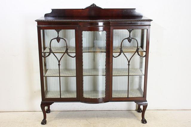 1880年代イギリス製アンティーク ヴィクトリアン マホガニー チッペンデールスタイルのキャビネット