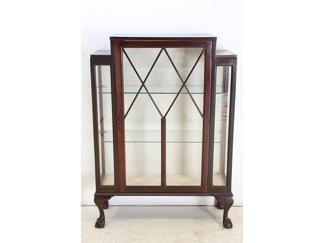 1940年代イギリス製アンティーク マホガニー ボウルクロウフット ガラスキャビネット