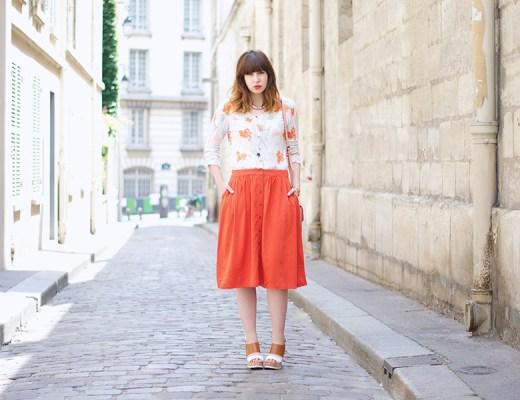 orange et corail, jupe forever 21, mellow yellow, hm, clarks bag,