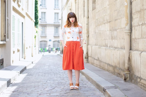 orange et corail, jupe forever 21, mellow yellow, hm, clarks bag,