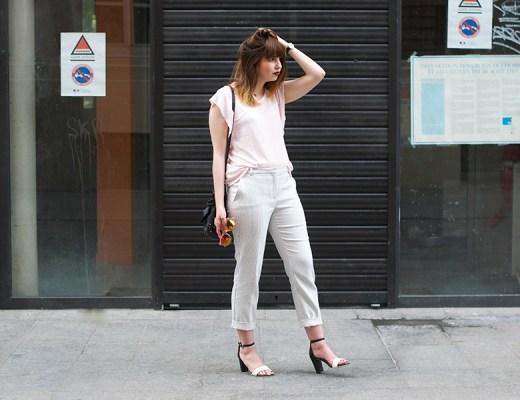 tenue mango, pantalon raye, blouse rose, sandales aerosemelles balsamik, lusine a lunettes, blog mode, pickture