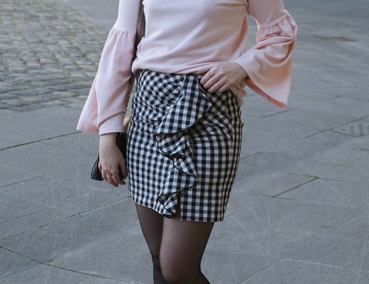 rose layette, jupe vichy, blog, look, tenue, jupe froufrous