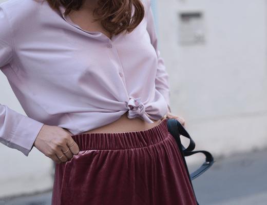 tenue uniqlo, rose, velours, chemise,