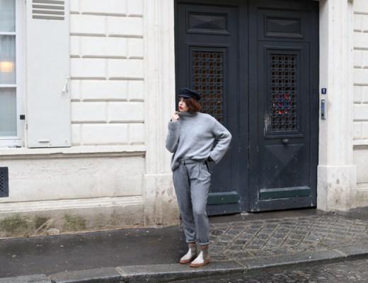 casquette, gavroche, look, all grey, gris