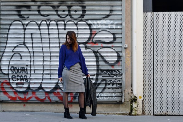 ultra violet, jupe carreaux, look, outfit